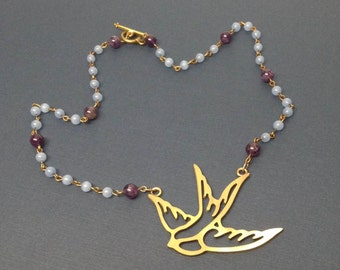 Periwinkle and Amethyst Beaded Brass Swallow Necklace