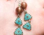 Venetian Glass Earrings - Venetain Glass with Geometric Handmade Triangle Dangles - Bronze and Sterling silver