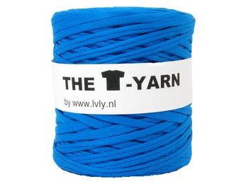 The t-shirt yarn 120-135 yards, 100% recycled cotton tricot yarn, blue 122