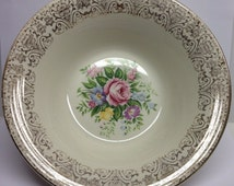 Vintage Bowl American Limoges Rosalie Pattern Serving  Bowl Triumph 22 K Gold