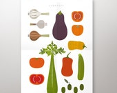 Caponata poster - Printable food  poster Kitchen poster A3 and A4 size, Italian food