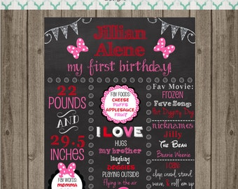 Minnie Mouse Birthday Chalkboard Sign - First Birthday Party Chalkboard Sign - Printable 8x10, 11x14, or 16x20 sign-Birthday Photo Prop