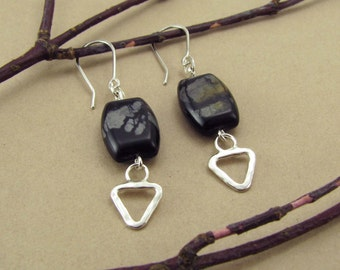 Sterling Silver Triangular Earrings with Picasso Marble Beads