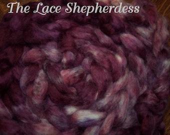 "Hand dyed Coopworth Wool Pin Draft Roving. 7.7 oz.  ""Rose Dance"""