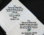Embroidered Wedding Handkerchief for the Father of the Bride and Grandfather of the Bride