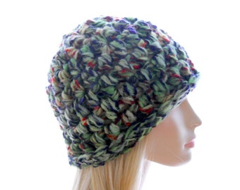 Wool - Blend Beanie Hat, Green Tweed Hat, Women's Crochet Hat in Bulky Yarn, Medium to Large Size