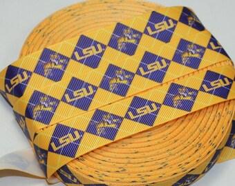 """7/8"""" LSU Grosgrain Ribbon"""