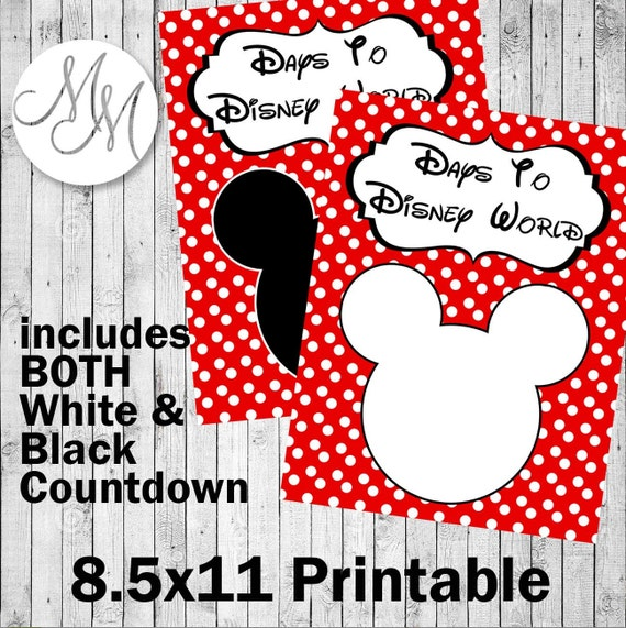 Countdown to Disney World Printable 8.5x11 by MemoriesinMoments