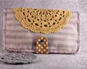 Linen Wallet - Fabric Wallet - Crochet Doily in Yellow - Etsy Gifts