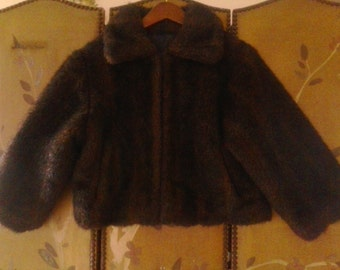 SALE!!! Cropped brown faux fur jacket