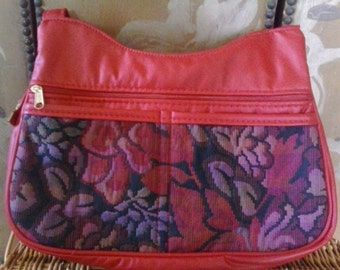 Faux red leather hobo hand bag