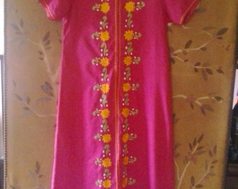 80s hot pink embroidered Asian style maxi dress