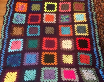Traditional Granny Square Afghan in Fun Colors with a Dark Gray Border