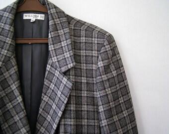 Vintage Gray wool plaid Women Jacket Coat, Long Sleeve Winter Tailored Jacket, Made in Italy Womens Hip Coat XL XXL, Retro Plus size fashion