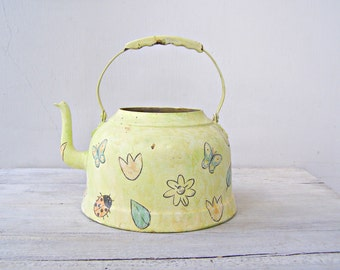 Altered Teapot Planter, Shabby Floral Teapot, Mid Century Decorative Pot, Hanging Metal Plant Pot, Gardener Gift Farmhouse Butterfly Planter