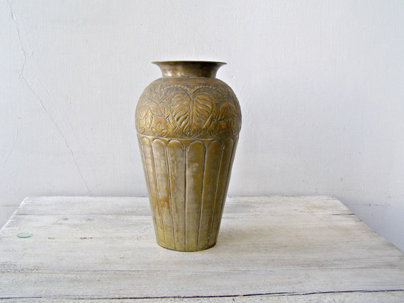 Hammered Bronze Table Floor Vase Shabby Rustic Ornate Tall