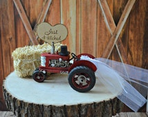 Tractor-John Deer-western-rustic-barn-wedding-cake topper-farm-ranch-cow-farmer-groom's cake-red tractor-country wedding-hunting-barn-sign