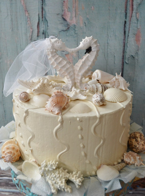 Seahorse Cake Topper White Ivory Bride Groom Kissing Wedding Something Blue Beach