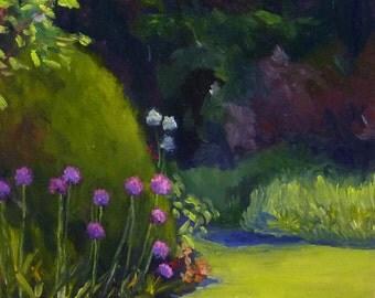 Landscape Oil Painting Original Plein Air Moonlit Garden