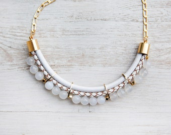 Meteorites Statement White colors Jade Necklace by Pardes