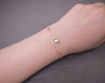 Dainty Elsa Swarovski Rhodium-Plated Crystal with Double Nylon Cord Bracelet