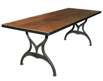 Metal edged industrial farm table with Brooklyn legs