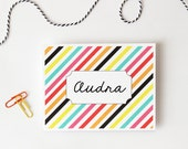 Custom Stationary Personalized Stationery Bright Colorful Stripes Preppy Thank You Note Cards Bridesmaids Gifts Diagonal Stripes / Set of 10