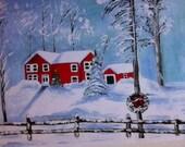 Beautiful original Art watercolor prints christmas theme