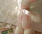 "My First Teddy - 1930's Vintage Patchwork 'Wedding Ring' Quilt  10"" Teddy Bear"