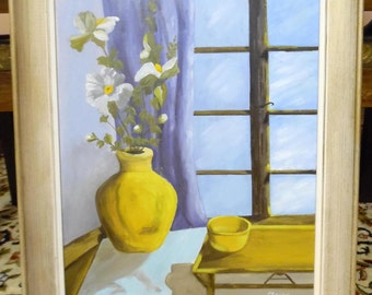 Vintage Oil on Canvas Floral & Vase Still Life Painting / Art / Home Decor By Elaine Lennaro