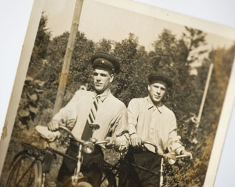 Soviet cyclists photo, mid century photo guys with Russian bikes, snapshot country cyclists
