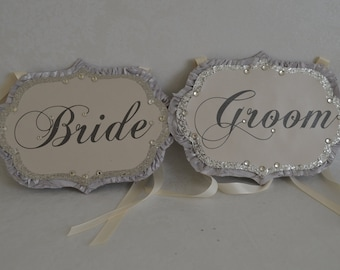 Bride and Groom chair sign set
