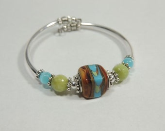 Handmade Silver Tube Unique NO CLASP Blue and Brown Square Bead Bracelet