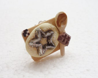 Baking Christmas Cookies Ring. Polymer Clay.