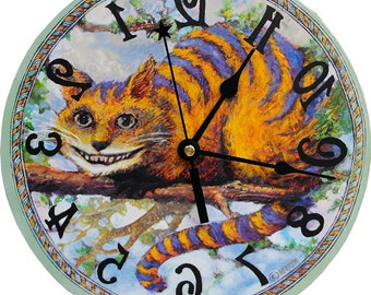 Cheshire Cat clock. Runs backwards, Alice in Wonderland Decor! A wall clock to amaze your friends.