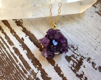 Petite Amethyst Necklace, Authentic Druzy Quartz Necklace, Amethyst Cluster, February Birthstone, Gemstone Necklace, Gold Amethyst