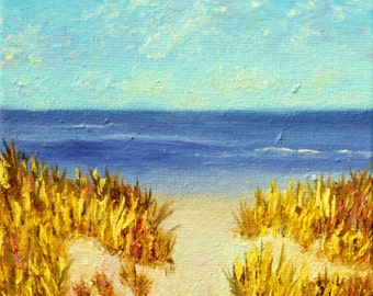 Going to the Beach Impressionistic Oil Painting, Art Print, Wall Decor, Vacation, Ocean, Sand