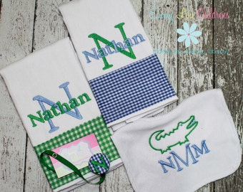 Baby Gift Set - Set of Two Monogrammed Burp Cloths, Pacifier Clip and Bib - Custom Gift Set.