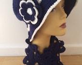 WINTER SALE Woman Winter Navy Blue Hat