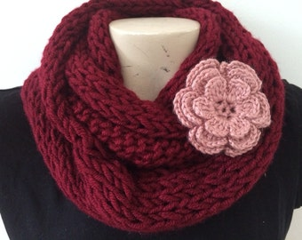 Burgundy Infinity Circle Scarf, Knit infinity Burgundy Scarf, Usa Seller