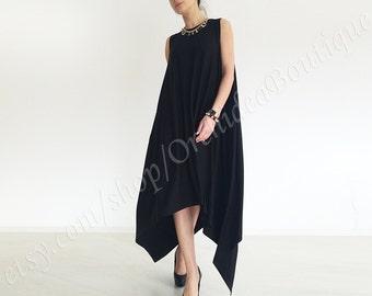 Black Asymmetrical loose Dress Tunic  oversized maxi jersey tunic uneven hem plus size maternity loose caftan black minimalist BARCELONA