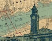"Hoboken NJ Lackawanna train station map background 10.5x13"" print"