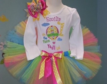 Dr Seuss Birthday - Oh the Places You'll Go - Dr. Seuss - Dr Seuss Tutu outfit - Neon Birthday outfit - photo prop - 1st birthday outfit