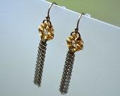Fringe Earrings - Brass Wire Crochet - Antiqued Brass Chain Fringe Delicate Dangle