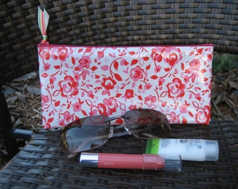 Zippered Oil Cloth Pouch-White with Pink and Red Flowers Cosmetic Bag--Purse Organizer--Pencil pouch