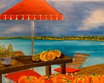 Lake Painting Fall Painting Indian Summer Painting Landscape Painting Bavaria Painting Pumpkin Painting