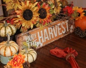 "Enjoy the Harvest // Thanksgiving Decor // Metal Sign // 5.5"" x 22"" // Mantel Decor // Table Centerpiece"