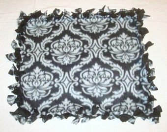 Fleece Tie Pet Blanket for Cats or Small Dogs - Gray and Black Damask Grey