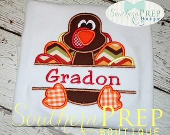 Turkey Applique - Boys Thanksgiving shirt - Turkey Applique