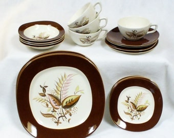 20 Piece Four Setting Breakfast Set Vintage Taylor Smith Conversation Jamaica Cup Saucer Bread Dinner Plate Berry Bowl
